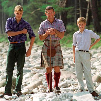 1997: Prince Charles with princes William and Harry at Balmoral Castle.