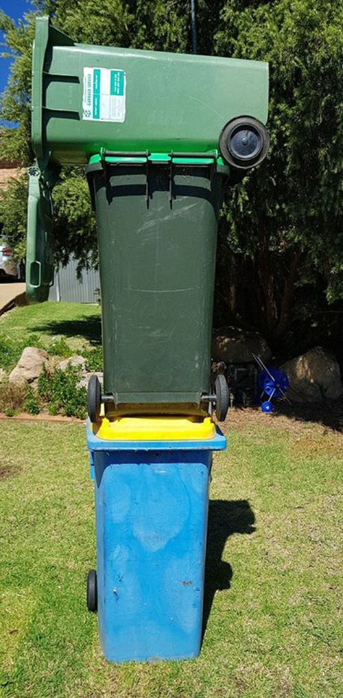 Wagga residents are using their creativity to send council a message about the delayed rubbish bin collection (FACEBOOK)