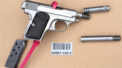 A gun seized during the traffic stop.