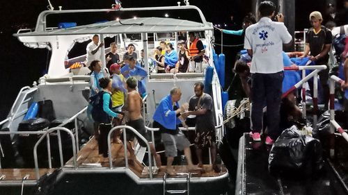 At least 49 people are missing after two boats carrying 130 Chinese and Europeans tourists overturned in rough seas off the Thai resort island of Phuket. Picture: AAP