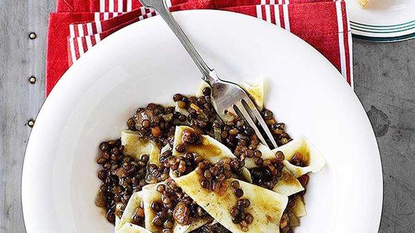 Stracci with lentils and lardo