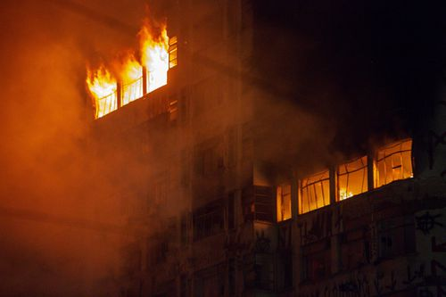 The building is understood to have been abandoned, but occupied by local squatters. (AP/AAP)