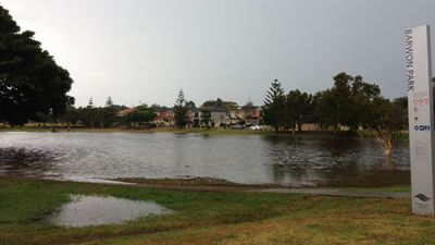 Residents made the most of flooding at Barwon Bark, Matraville – swimming in the rain water. (Marian Romeo)