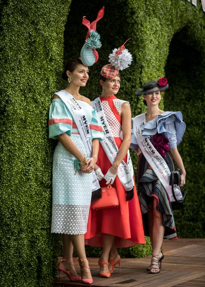 Fashions on the Field runners up Yvette Hardy and Charlotte Moor with Melbourne Cup Day winner for Women's Racewear Olivia Moor.