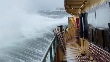 Huge swells on the Manly Ferry crossing Sydney Harbour this morning.