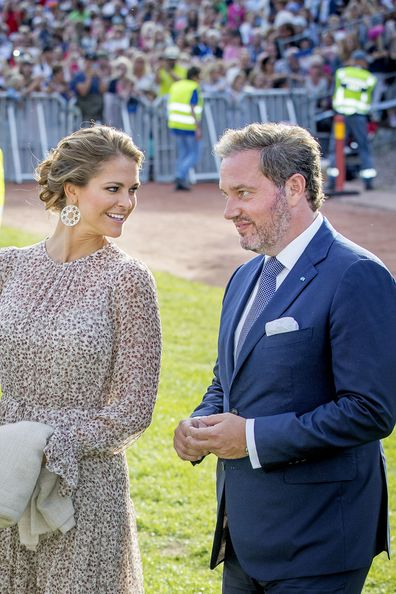 Princess Madeleine of Sweden and her husband Chris O'neill attend the Victoria day celebration on the occasion of The Crown Princess Victoria of Sweden's 40th birthday celebrations at stadion on July 14, 2017 in Borgholm, Sweden.
