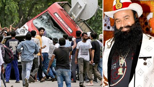 Violent protests break out in the Indian town of Panchkula (left) and controversial guru Ram Rahim Singh. (AFP)