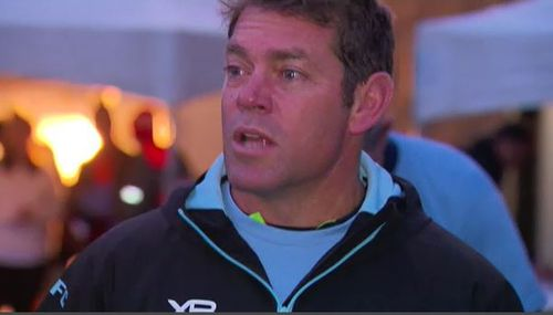 NRL legend Brett Kimmorley fired up his team for the big game. Picture: 9NEWS