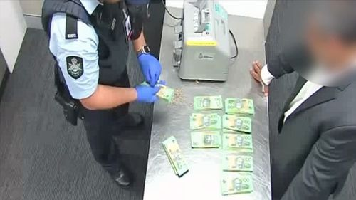 In the man's hand luggage ABF officers found $45,000 in undeclared cash.