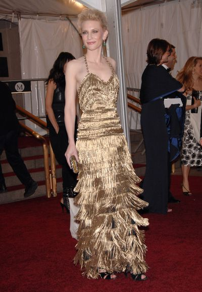 7. If you have an Oscar, dress like one. That was Cate Blanchett's approach in fabulously-fringed Balenciaga at the 2007 Met Gala, Poiret: King of Fashion.