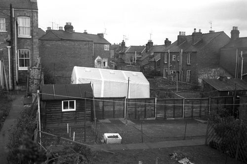 A crime scene photo from the day. The children's mutilated bodies were found on a neighbour's fence.