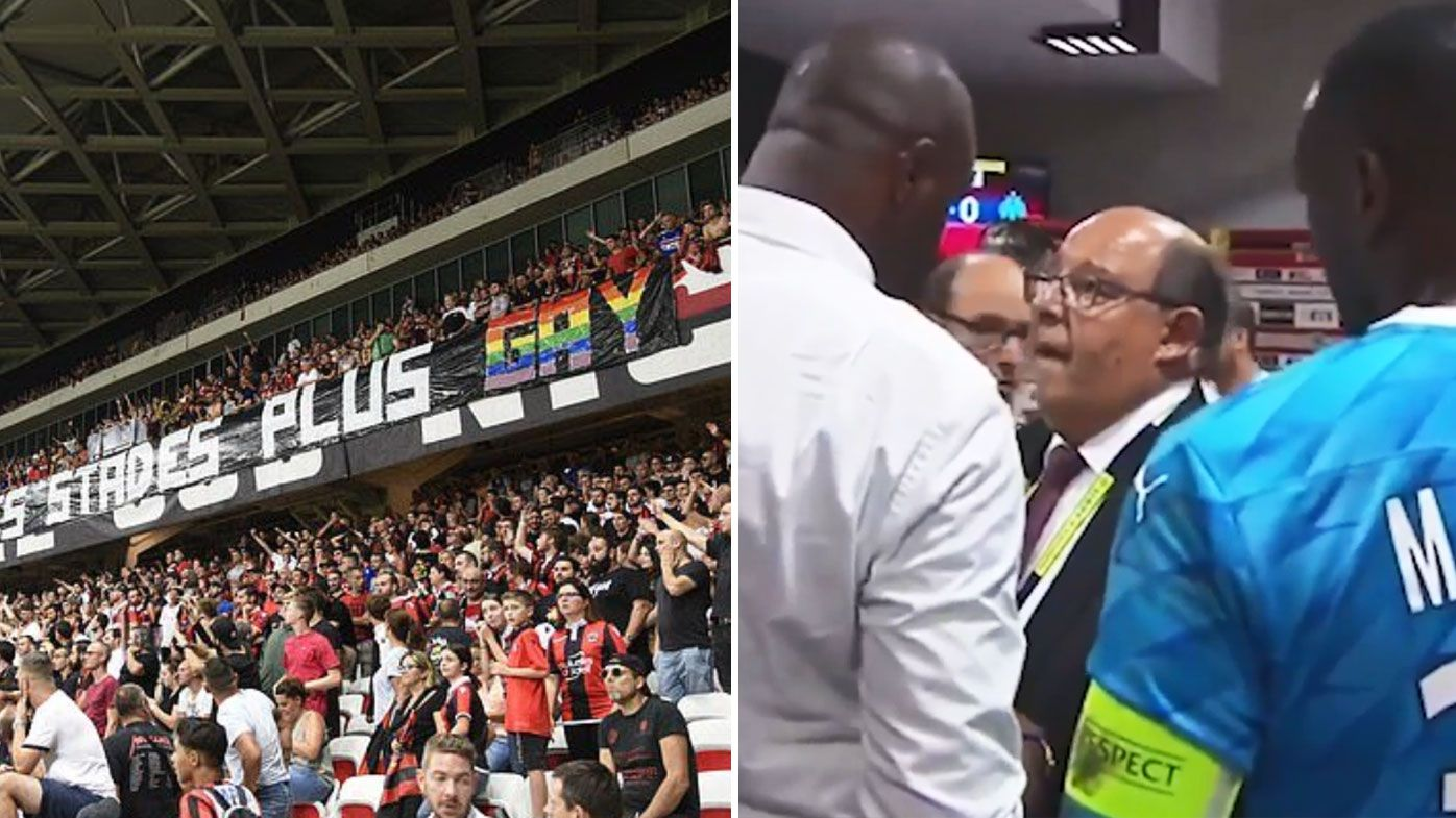 Nice vs Marseille halted by homophobic banners