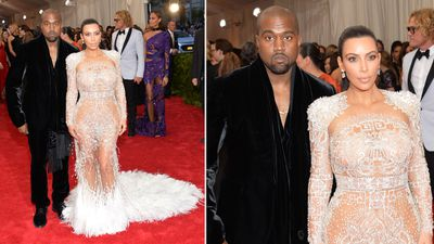 Musician Kanye West and reality TV star Kim Kardashian West made their own bold statement at the Met Gala. (AAP)