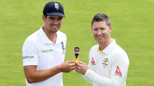 Rival skippers Alastair Cook and Michael Clarke. (AAP)
