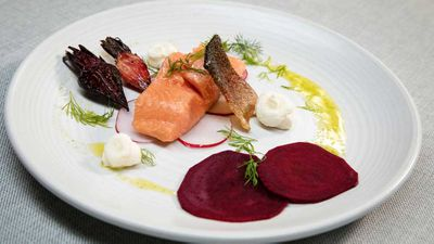 "Recipe: <a href=""https://kitchen.nine.com.au/2017/11/24/17/06/family-food-fight-the-butlers-confit-ocean-trout-with-beetroot-and-goat-cheese"" target=""_top"">The Butler's confit ocean trout with beetroot and goat cheese</a>"