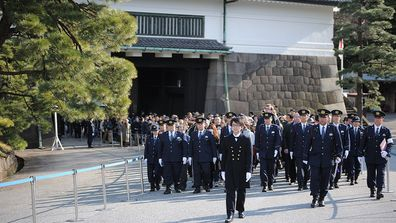 A gathering at the imperial palace to celebrate Japanese Emperor Akihito's birthday in Tokyo Japan on December 23, 2016.