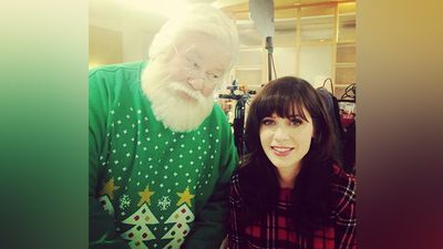 Actress Zooey Deschanel once ran into Santa while on set filming. (Instagram)