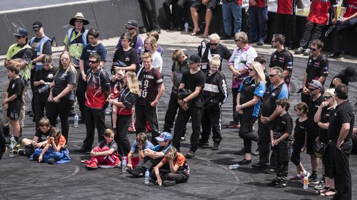 Family and friends gather for the funeral for Anita Board at the Perth Motoplex. (AAP)