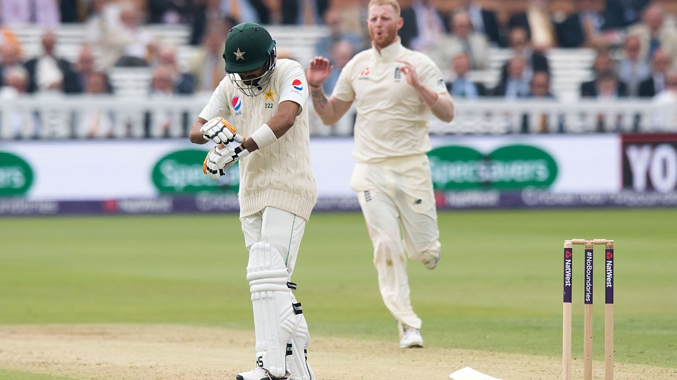 England bowler Ben Stokes breaks the arm of Pakistan batsman Babar Azam in Test match