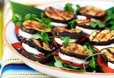 "Recipe:<a href=""/recipes/ieggplant/8349842/eggplant-quesadillas-with-spinach-mozzarella-and-roasted-red-capsicum"" target=""_top"" draggable=""false"">Eggplant quesadillas</a>"
