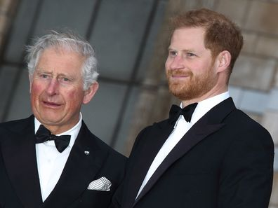 Prince Harry with HRH Prince Charles at the World Premiere of Netflix's Our Planet at the Natural History Museum, Kensington in 2019.