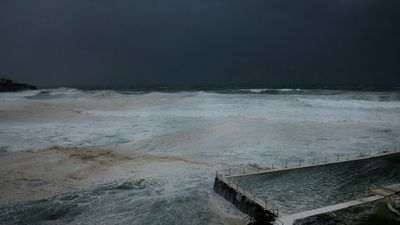 Not too many tourists hanging around famed Bondi Beach in these conditions. (Getty)