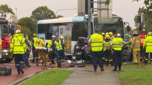 Five people were injured in the accident in wet conditions.