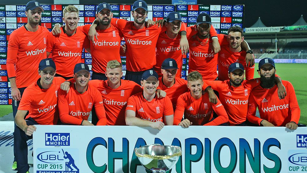 England celebrate the 3-0 T20 series win over Pakistan. (AAP)