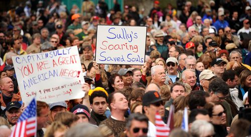 """Thousands of people gather in Danville, California, to welcome home Chesley """"Sully"""" Sullenberger on January 24, 2009."""