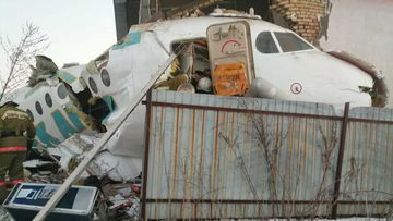 The plane crashed into a building soon after take-off.