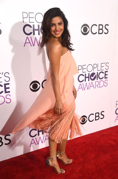 <p>Priyanka Chopra is 100 per cent perfect in this blush-hued Sally LaPointe dress.</p> <p>Image: Getty.</p>