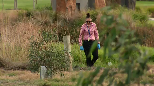 The search was conducted just hours before a 38-year-old man was arrested over the murder. Picture: 9NEWS