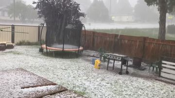 Hail falls in Oberon, in the central tablelands region of New South Wales.