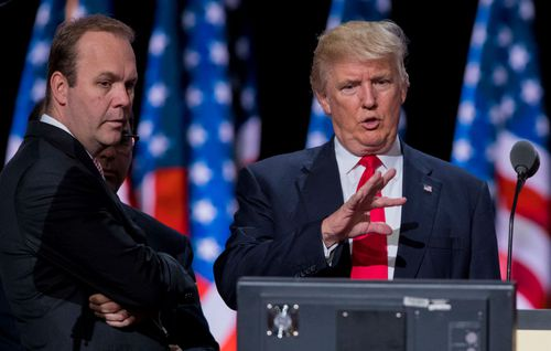 Rick Gates with Donald Trump during the 2016 US presidential election.