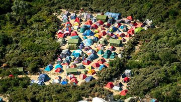 """An aerial view of tents in the """"Jungle"""" camp in Calais, northern France. (AFP)"""