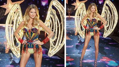 Model Martha Hunt wore an outfit that featured 120,000 Swarovski crystals and LED light wings. (Instagram)