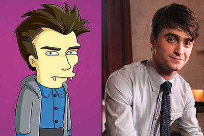 """<B>Appeared in:</B> 'Treehouse of Horror XXI' (2010). J.K. Rowling ain't the only <I>Harry Potter</I> star to grace <I>The Simpsons</I>. DanRad lent his voice to 'Tweenlight', playing a soppy vampire called Edmund who falls for a human girl. Subtle.<br/><br/><B>Best line:</B> """"Let us move between the trees the way a bat does... by jumping!"""""""