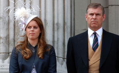 Princess Beatrice and Prince Andrew at Buckingham Palace in 2006.