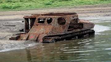 WW2 Tank emerges due to drought NSW