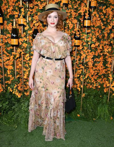 Christina Hendricks  arrives at the 9th Annual Veuve Clicquot Polo Classic event in Los Angeles, October 6, 2018