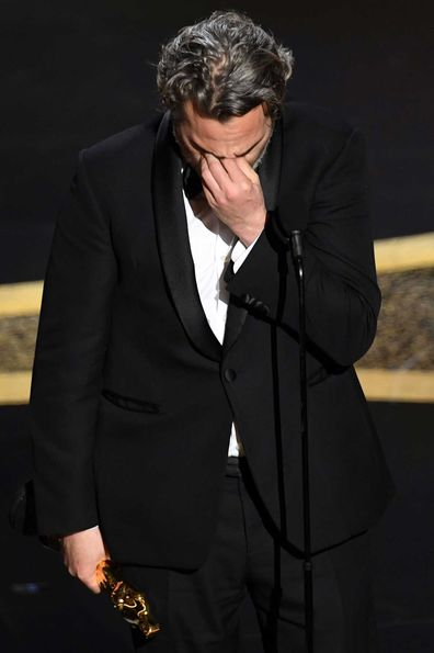 Joaquin Phoenix accepts the Actor In A Leading Role award for 'Joker' onstage during the 92nd Annual Academy Awards at Dolby Theatre on February 09, 2020.