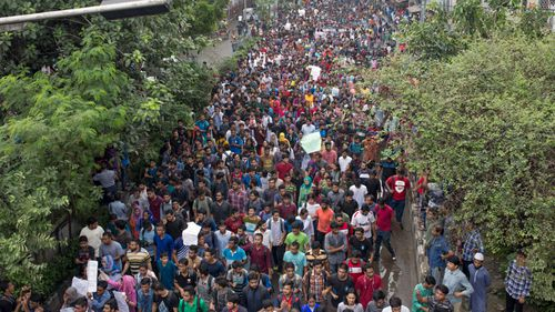 Protests have flared repeatedly in Dhaka since two students were killed last week by speeding buses.