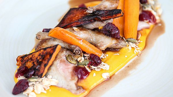 Cranberry-glazed quail with pumpkin and granola