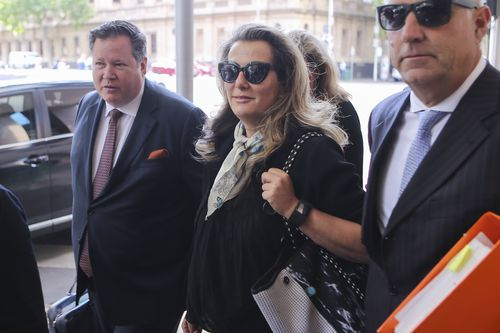 Kathy Jackson arrives at Melbourne Magistrates' Court today accused of fraud in relation to stays in Hong Kong, Las Vegas and New York. Picture: AAP