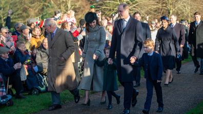 The Prince of Wales, The Duke and Duchess of Cambridge and their children Prince George and Princess Charlotte arriving to attend the Christmas Day morning church service at St Mary Magdalene Church in Sandringham, Norfolk.