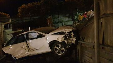 A speeding car ploughed into Brisbane homes last night.