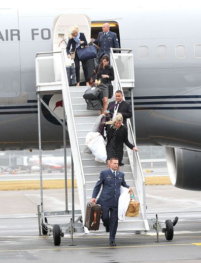 General view of the baggage coming off the plane during Prince William, Duke of Cambridge, Kate Middleton, Duchess of Cambridge and Prince George of Cambridge visit to New Zealand as they arrive at Wellington Airport on April 7, 2014 in Wellington, New Zealand