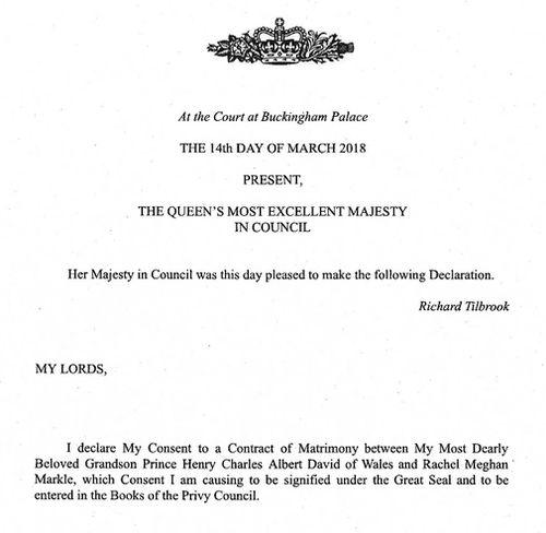 The Queen's declaration. (PA/AAP)