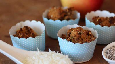 """Recipe:&nbsp;<a href=""""http://kitchen.nine.com.au/2016/12/19/09/54/apple-and-coconut-muffins"""" target=""""_top"""" draggable=""""false"""">Apple, chia and coconut muffins</a>"""