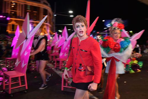 Satirical performance artist Pauline Pantsdown took part in the march. (AAP)